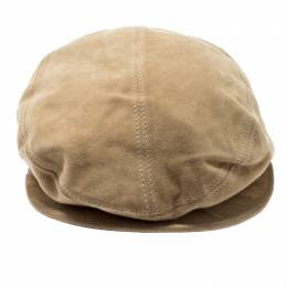 Gucci Beige Suede Large Beret Hat Size M 199738
