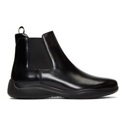 Prada Black Spazzolato Rois Chelsea Boots 4T3451 B4L