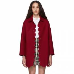 Red Valentino Red Wool Scallop Coat 192089F05900203GB