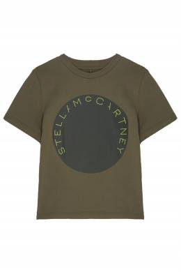 Зеленая футболка из хлопка Stella McCartney Kids 1334136880