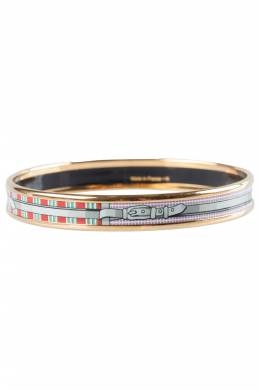 Hermes Multicolor Belt Printed Enamel Gold Plated Bangle Bracelet 201712