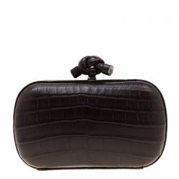 Bottega Veneta Dark Brown Crocodile Knot Clutch 201479