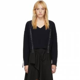 3.1 Phillip Lim Navy Cropped Weave Sweater 192283F10000201GB