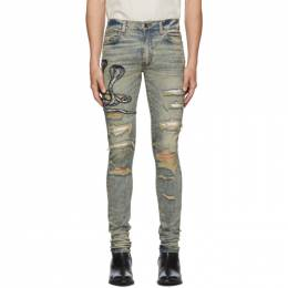 Amiri Blue Art Patch Snake Jeans 192886M18600709GB