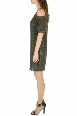 M Missoni Metallic Bronze Gold Knit Cold Shoulder Shift Dress S