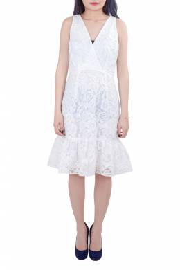 Marchesa Voyage White Floral Embroidered Lace Sleeveless Flounce Hem Dress S 201705