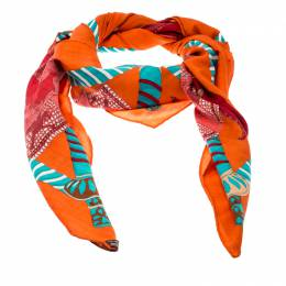 Hermes Multicolor Etendards et Bannieres Printed Cashmere and Silk Shawl 200037