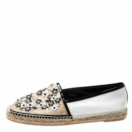 Rene Caovilla Monochrome Lace And Leather Floral Embellished Espadrilles Size 41 200013