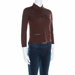 Prada Brown Silk and Wool Rib Knit Leather Patch Detail Polo T- Shirt M 200151