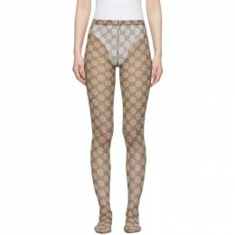 Gucci Beige and Brown GG Tights 523697 3GA35