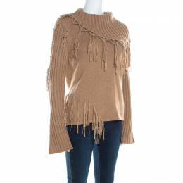Escada Camel Brown Cashmere Wool Roll Neck Fringed Pullover M 200393