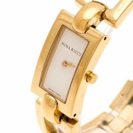 Nina Ricci White Dial Gold Plated Stainless Steel Classic Rectangular N00242 Women's Wristwatch 16 mm 200482