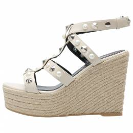 Nicholas Kirkwood Beige Patent Leather Stud And Pearl Embellished Strappy Espadrille Wedges Sandals Size 37 205282