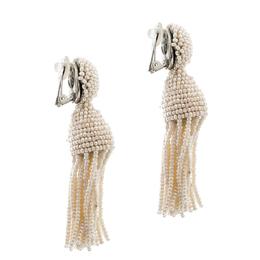 Oscar De La Renta Cream Faux Pearl Beaded Clip-on Long Tassel Earrings 204886