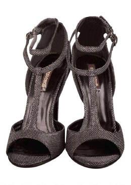 Roberto Cavalli Metallic Black Glitter Fabric T Strap Double Buckle Sandals Size 38.5 204083