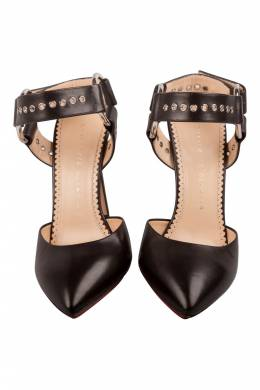 Charlotte Olympia Black Leather Domina Eyelet Detail Ankle Strap Sandals Size 38