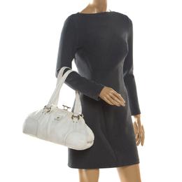 Celine White Leather Frame Satchel 204586