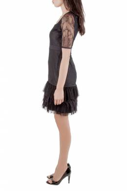 Marchesa Notte Black Lace Ruffle Tiered Hem Feather Insert Cocktail Dress M 204550