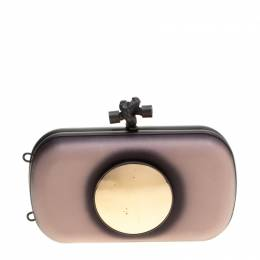 Bottega Veneta Black/Light Beige Leather Sphere Palazzo Knot Clutch 205299