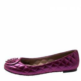 Tory Burch Metallic Pink Quilted Leather Reva Ballet Flats Size 36 197574