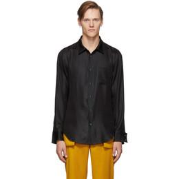 Sies Marjan Black Satin Sander Hammered Shirt 192885M19200702GB