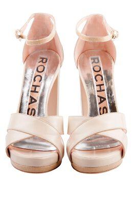 Rochas Beige Leather Cross Strap Platform Block Heel Sandals Size 37 204839