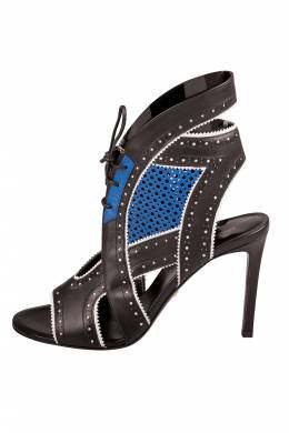 Roberto Cavalli Black And Blue Perforated Leather Lace Up Cut Out Sandals Size 38.5 205965