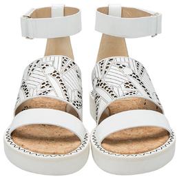 Nicholas Kirkwood White Laser-Cut Leather Peter Pilotto Ankle Strap Flat Sandals Size 37.5 205971