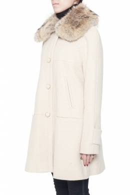Tory Burch Cream Lurex Insert Fur Collar Detail Ivan Long Coat S 203628