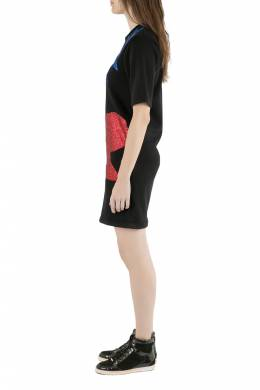 Christopher Kane Black Glitter Heads and Lightning Print Short Sleeve Sweatshirt Dress XS 203618