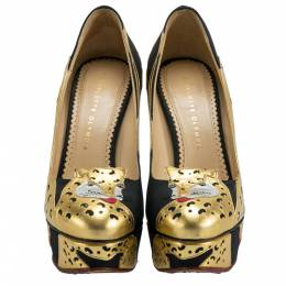Charlotte Olympia Black/Gold Leather Ninivah Leopard Platform Pumps Size 38