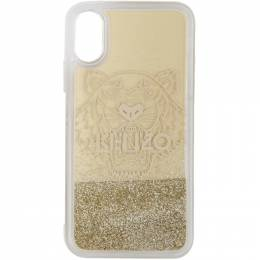 Kenzo Gold Glitter Tiger Head iPhone X/XS Case 192387M15300101GB
