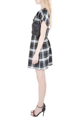 MCQ by Alexander McQueen Tartan Wool Leather Corset Belt Dress M