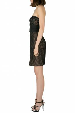 Marchesa Notte Black Sequin Embellished Lace Overlay Strapless Pencil Dress M 205328