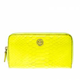 Tory Burch Neon Green Python Embossed Leather Zip Around Wallet 206506