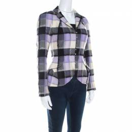 John Galliano Vintage Checkered Wool and Mohair Buttoned Jacket M 206785