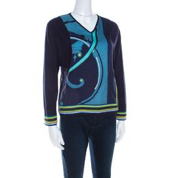 Hermes Navy Blue Printed Cotton Silk Long Sleeve Sweater Top S 206556