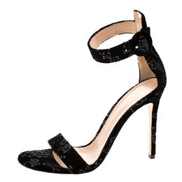 Gianvito Rossi Black Floral Embroidered Velvet Portofino Ankle Strap Sandals Size 40 206588