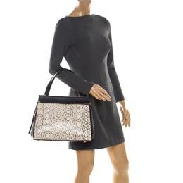 Celine Black/Beige Python and Leather Medium Edge Bag 206586