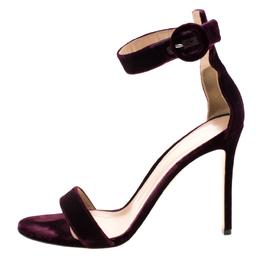 Gianvito Rossi Burgundy Velvet Portofino Ankle Strap Sandals Size 40 206481