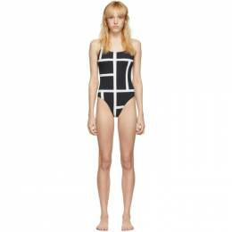 Toteme Black and White Positano One-Piece Swimsuit 192771F10300503GB