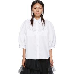Simone Rocha White Beaded Bustier Boy Shirt 192405F10900102GB