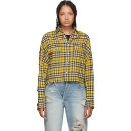 R13 Yellow Cropped Work Shirt 192021F10901402GB