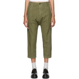 R13 Khaki Utility Drop Trousers 192021F08700105GB