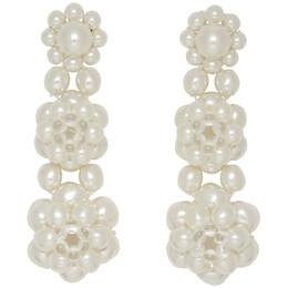 Simone Rocha White Three Tier Earrings 192405F00900201GB