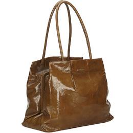 Celine Brown Patent Leather Shoulder Bag 204059