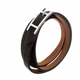 Hermes Hapi 3 Dark Green Leather Palladium Plated Wrap Bracelet 207149