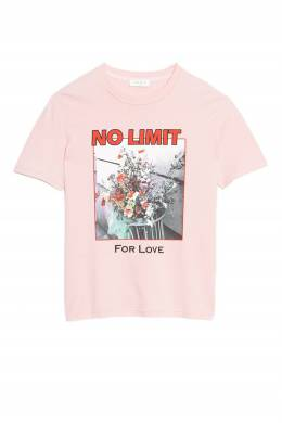 Розовая футболка с цветами и надписями Sandro 914139683