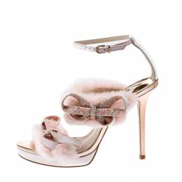 Sophia Webster Pink Faux Fur And Leather Bella Bow Embellished Ankle Strap Sandals Size 38.5 206871