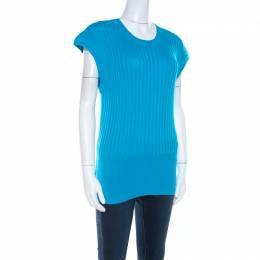 Escada Blue Cotton Ribbed Knit Crew Neck Top L 207246